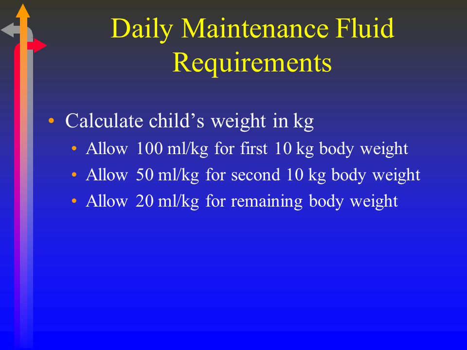 Daily Maintenance Fluid Requirements Calculate child's weight in kg Allow 100 ml/kg for first 10 kg body weight Allow 50 ml/kg for second 10 kg body w