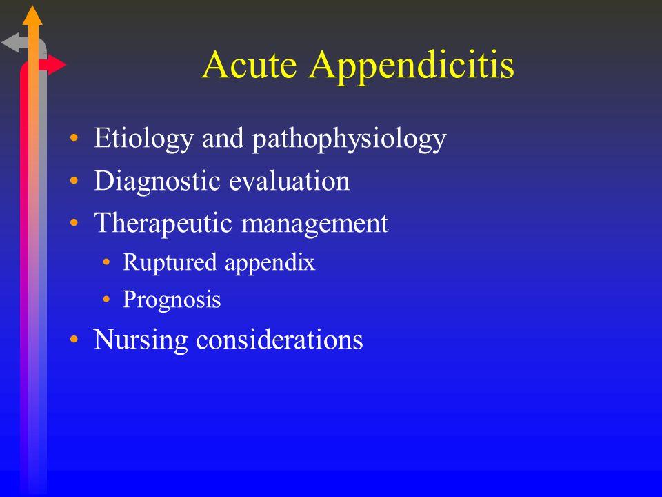 Acute Appendicitis Etiology and pathophysiology Diagnostic evaluation Therapeutic management Ruptured appendix Prognosis Nursing considerations