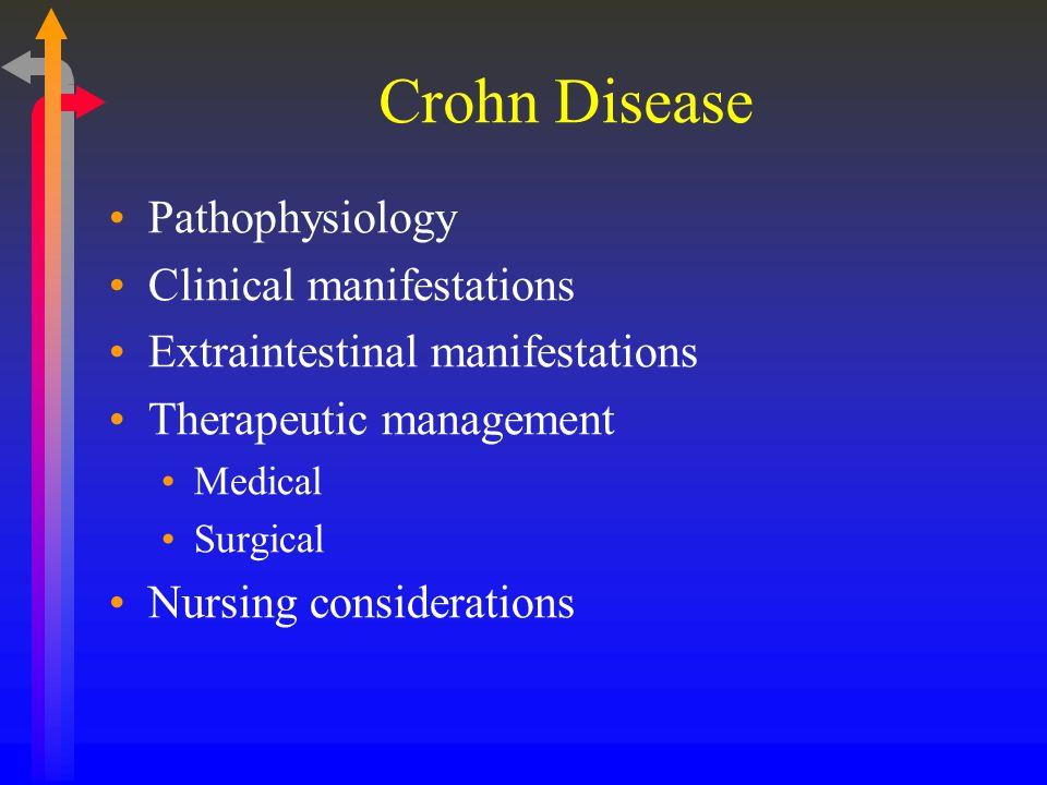 Crohn Disease Pathophysiology Clinical manifestations Extraintestinal manifestations Therapeutic management Medical Surgical Nursing considerations