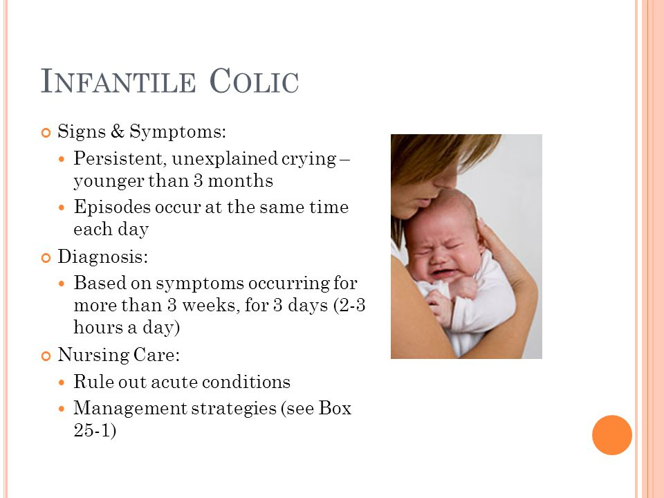 I NFANTILE C OLIC Signs & Symptoms: Persistent, unexplained crying – younger than 3 months Episodes occur at the same time each day Diagnosis: Based on symptoms occurring for more than 3 weeks, for 3 days (2-3 hours a day) Nursing Care: Rule out acute conditions Management strategies (see Box 25-1)