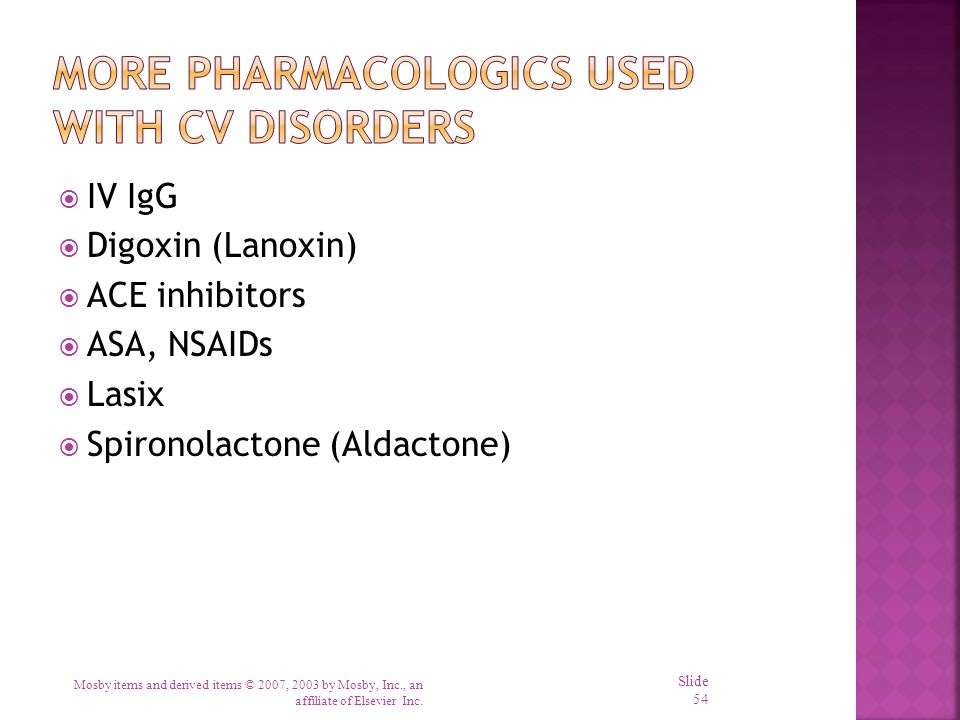  IV IgG  Digoxin (Lanoxin)  ACE inhibitors  ASA, NSAIDs  Lasix  Spironolactone (Aldactone) Mosby items and derived items © 2007, 2003 by Mosby,