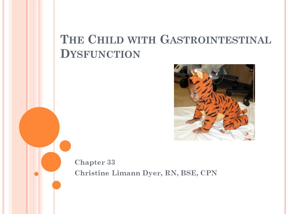 T HE C HILD WITH G ASTROINTESTINAL D YSFUNCTION Chapter 33 Christine Limann Dyer, RN, BSE, CPN