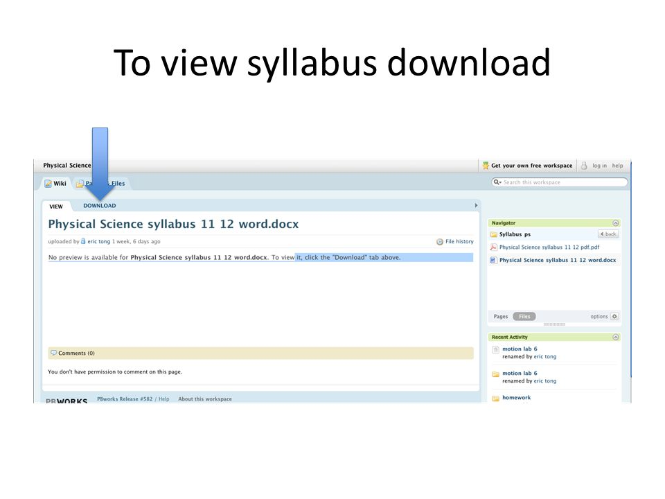 To view syllabus download