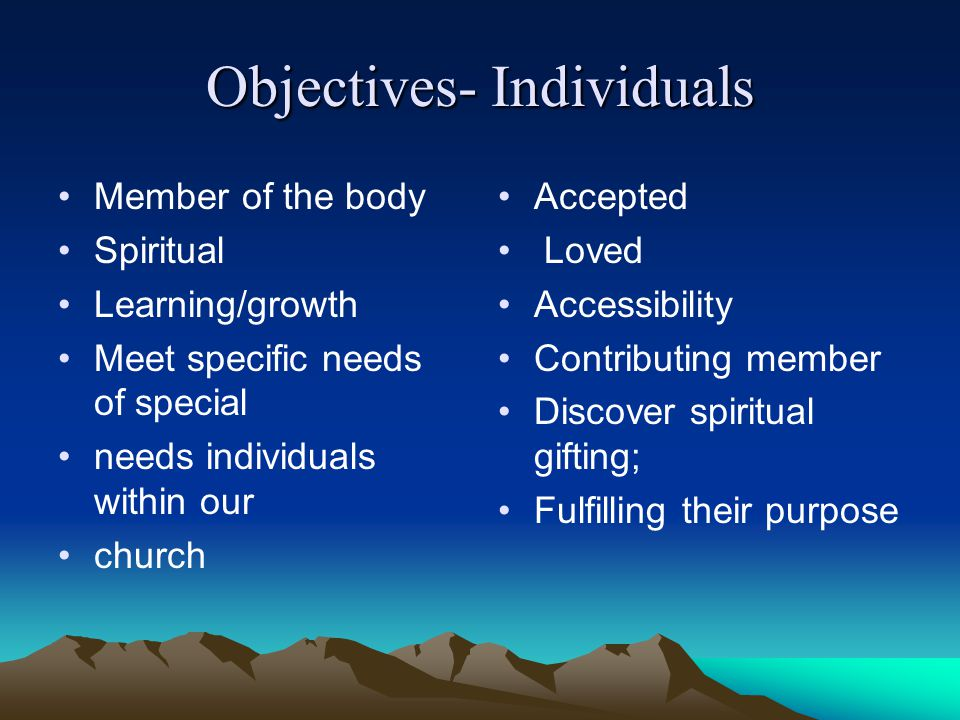 Objectives- Individuals Member of the body Spiritual Learning/growth Meet specific needs of special needs individuals within our church Accepted Loved