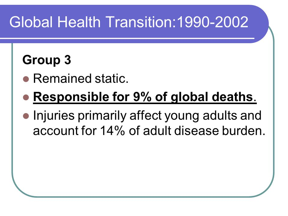 Global Health Transition:1990-2002 Group 3 Remained static.