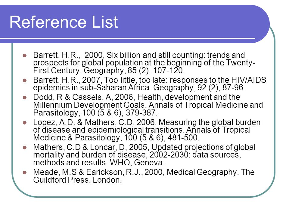 Reference List Barrett, H.R., 2000, Six billion and still counting: trends and prospects for global population at the beginning of the Twenty- First Century.
