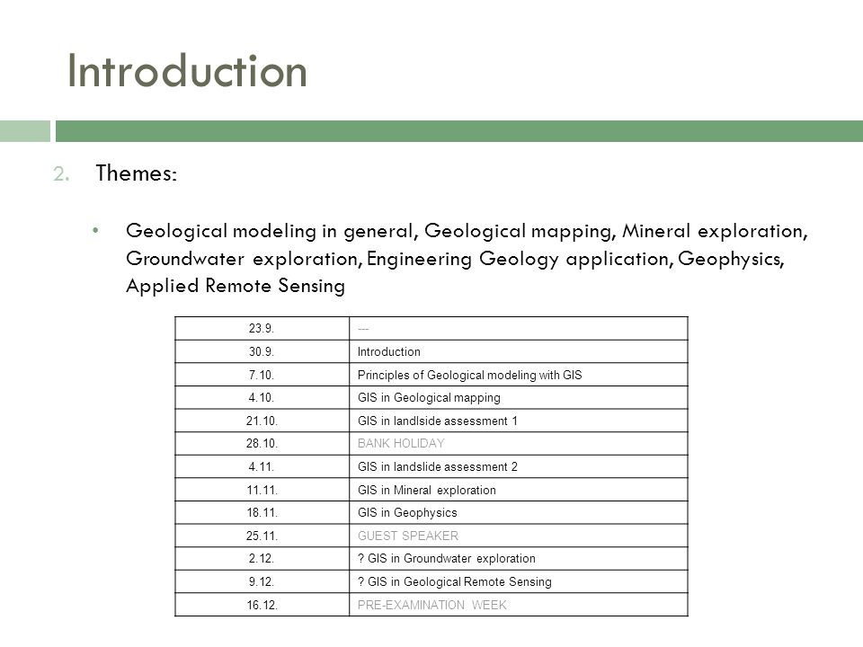 Introduction 2. Themes: Geological modeling in general, Geological mapping, Mineral exploration, Groundwater exploration, Engineering Geology applicat