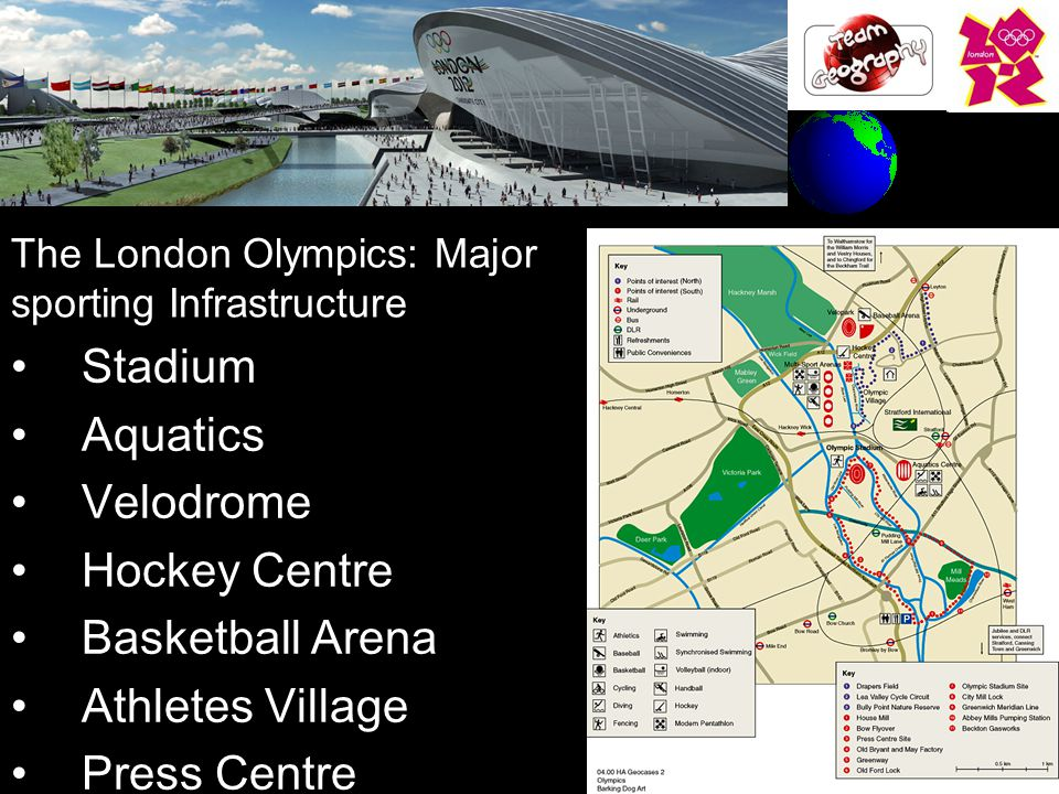 The London Olympics: Major sporting Infrastructure Stadium Aquatics Velodrome Hockey Centre Basketball Arena Athletes Village Press Centre