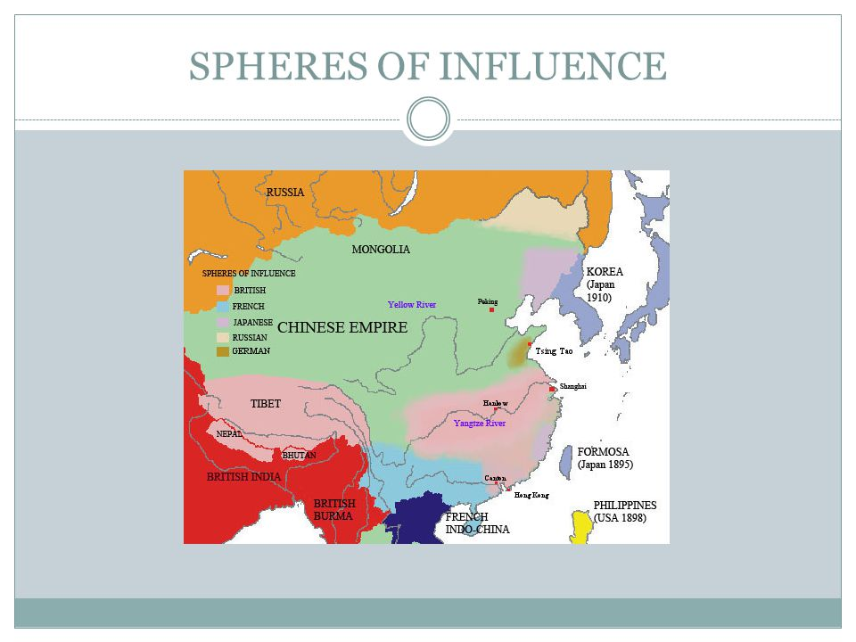 Spheres of Influence Treaty Ports – Chinese cities controlled by foreigners Extraterritoriality – foreign nationals not subject to Chinese law China is too weak to enforce its own laws within its own country Loss of sovereignty Open Door Policy – US position that all countries should have equal access to the China trade (1899) US wants a piece of the pie
