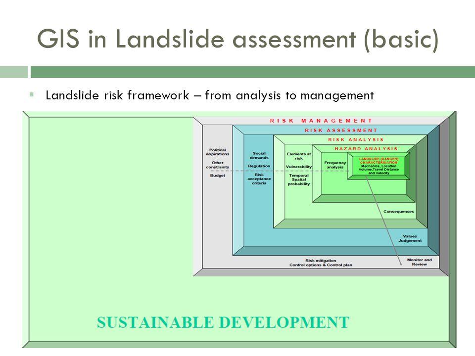  Landslide risk framework – from analysis to management GIS in Landslide assessment (basic)
