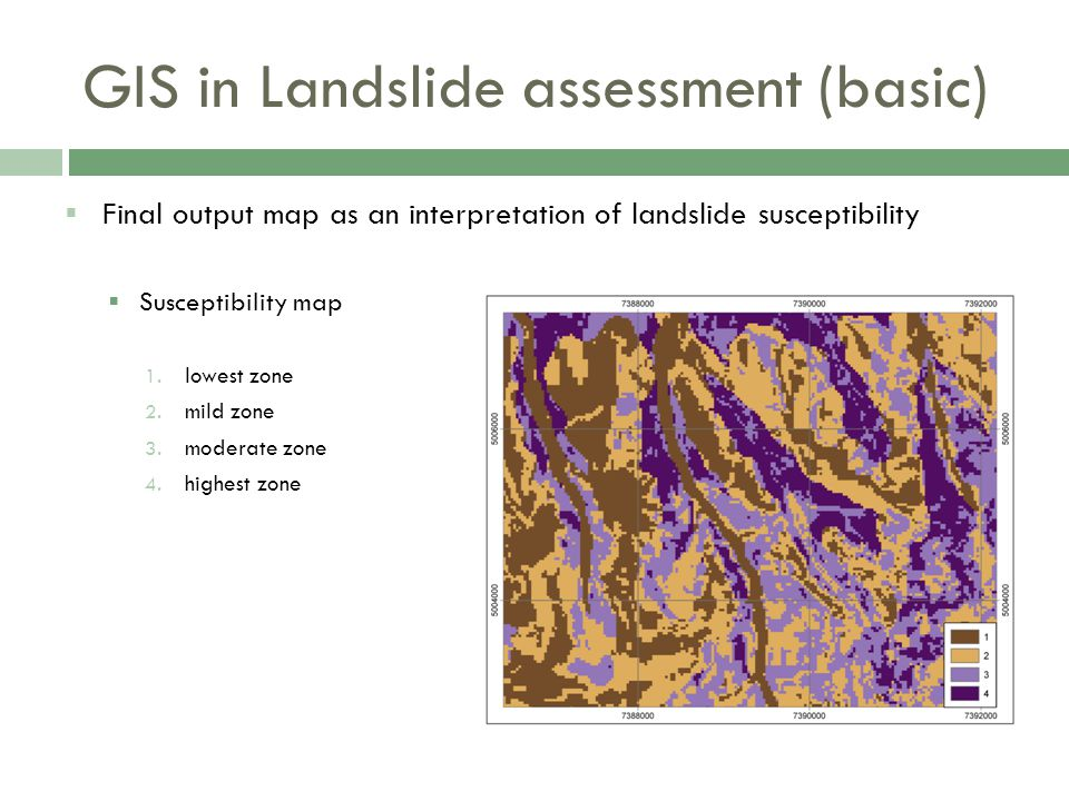  Final output map as an interpretation of landslide susceptibility  Susceptibility map 1.