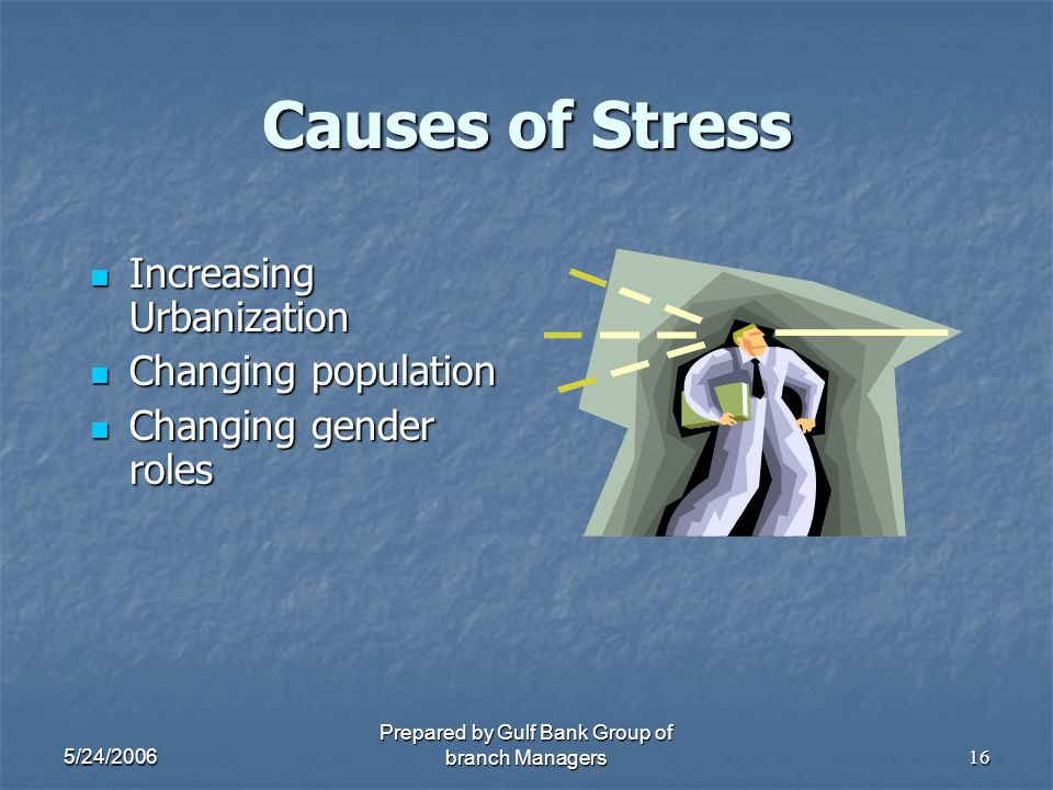 5/24/2006 Prepared by Gulf Bank Group of branch Managers16 Causes of Stress Increasing Urbanization Increasing Urbanization Changing population Changi