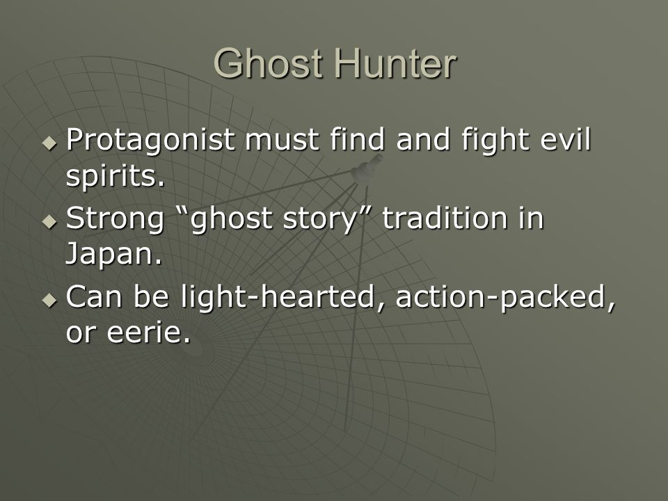 Ghost Hunter  Protagonist must find and fight evil spirits.