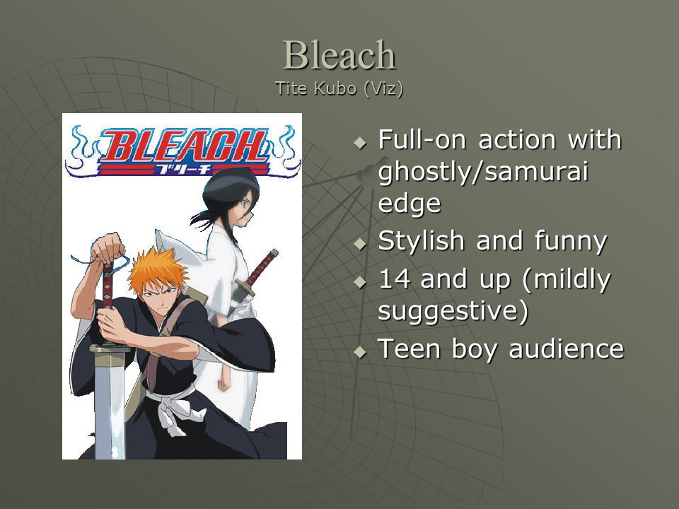 Bleach Tite Kubo (Viz)  Full-on action with ghostly/samurai edge  Stylish and funny  14 and up (mildly suggestive)  Teen boy audience