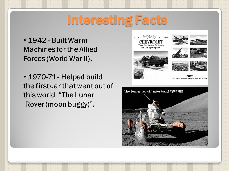 Interesting Facts 1942 - Built Warm Machines for the Allied Forces (World War II).