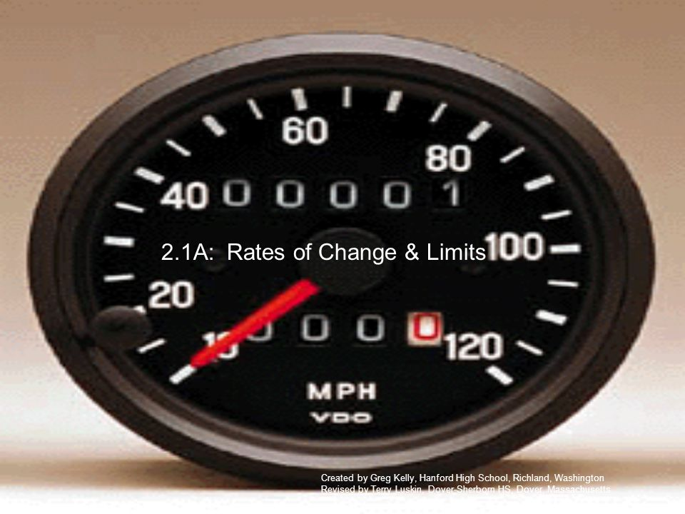 2.1A: Rates of Change & Limits Created by Greg Kelly, Hanford High School, Richland, Washington Revised by Terry Luskin, Dover-Sherborn HS, Dover, Massachusetts