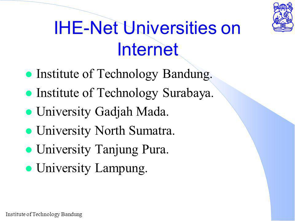 Institute of Technology Bandung IHE-Net Universities on Internet l Institute of Technology Bandung.