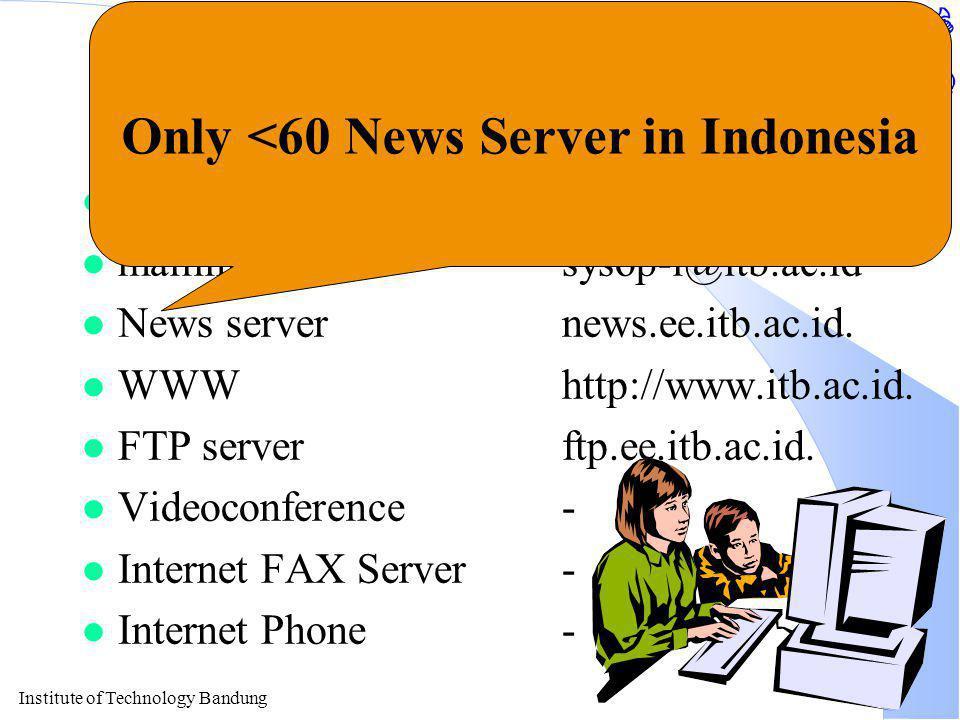 Institute of Technology Bandung Beberapa Servis Internet l e-mailcnrg@itb.ac.id. l mailing listsysop-l@itb.ac.id l News servernews.ee.itb.ac.id. l WWW