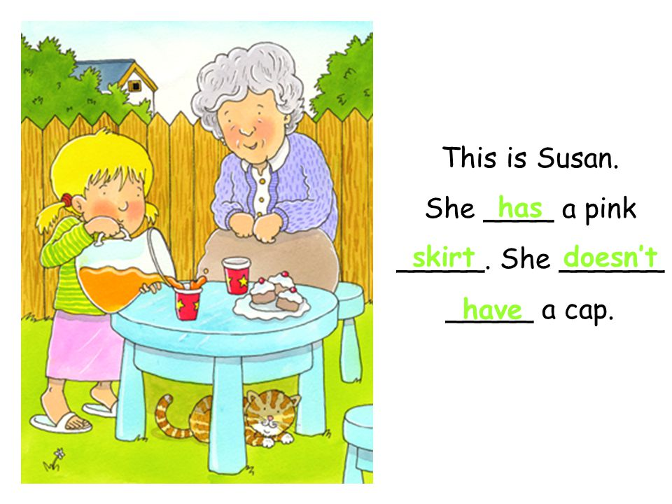 This is Susan. She ____ a pink _____. She ______ _____ a cap.
