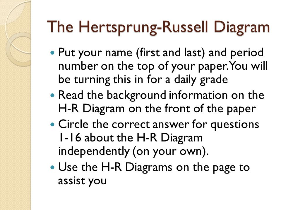 The Hertsprung-Russell Diagram Put your name (first and last) and period number on the top of your paper.