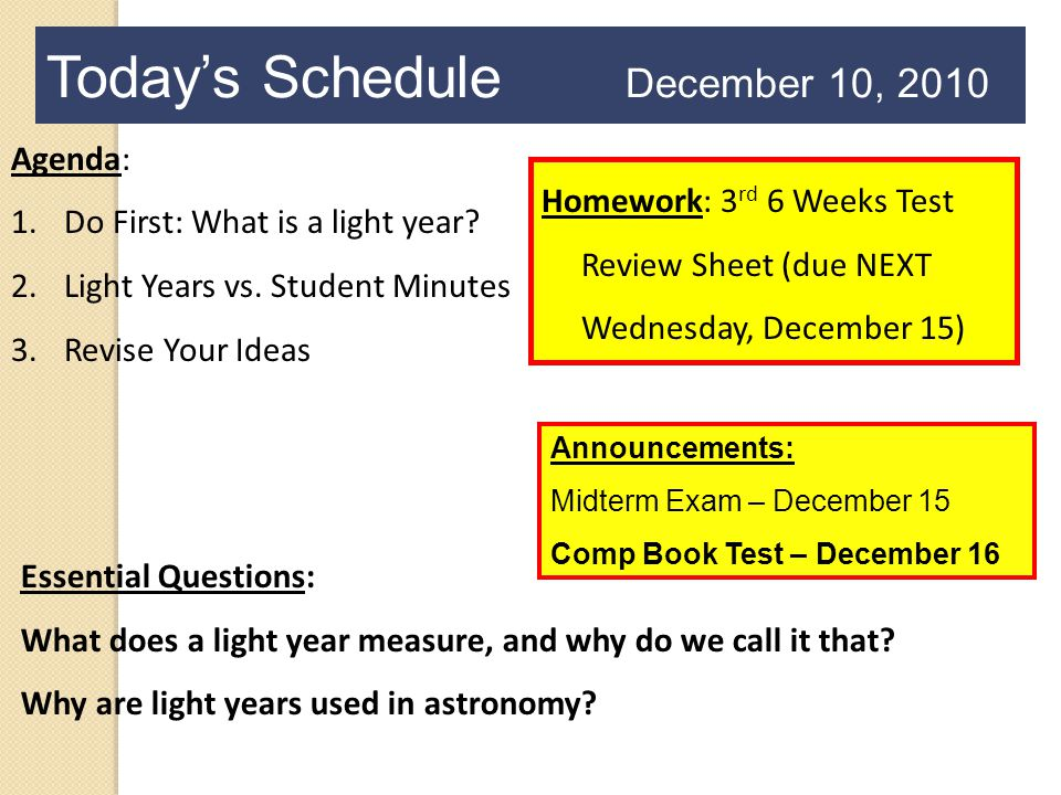 Today's Schedule December 10, 2010 Agenda: 1.Do First: What is a light year.