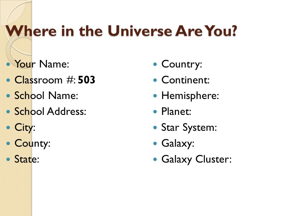 Where in the Universe Are You.Where in the Universe Are You.