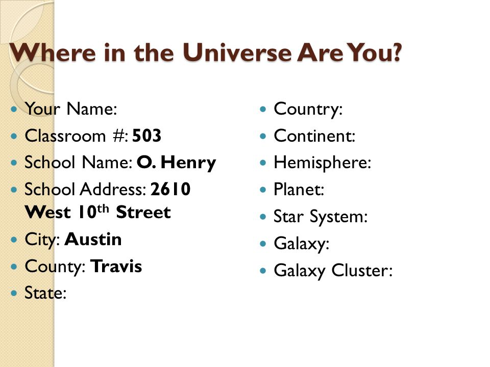 Where in the Universe Are You. Where in the Universe Are You.