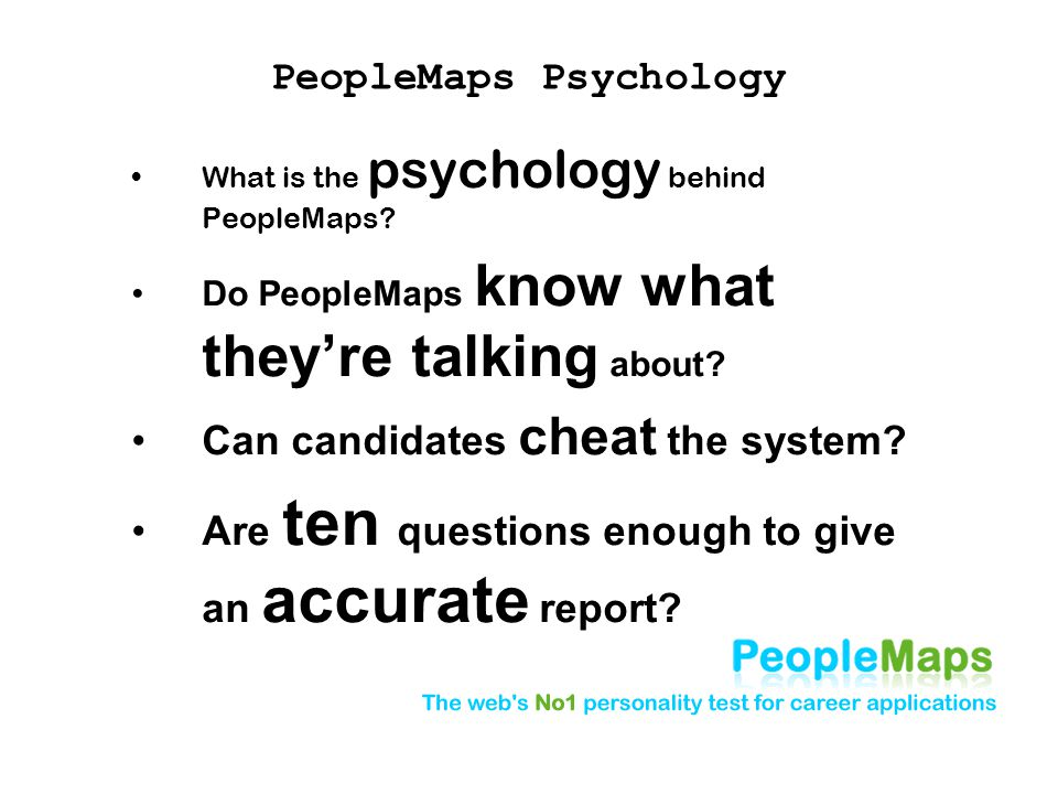 PeopleMaps Psychology What is the psychology behind PeopleMaps.