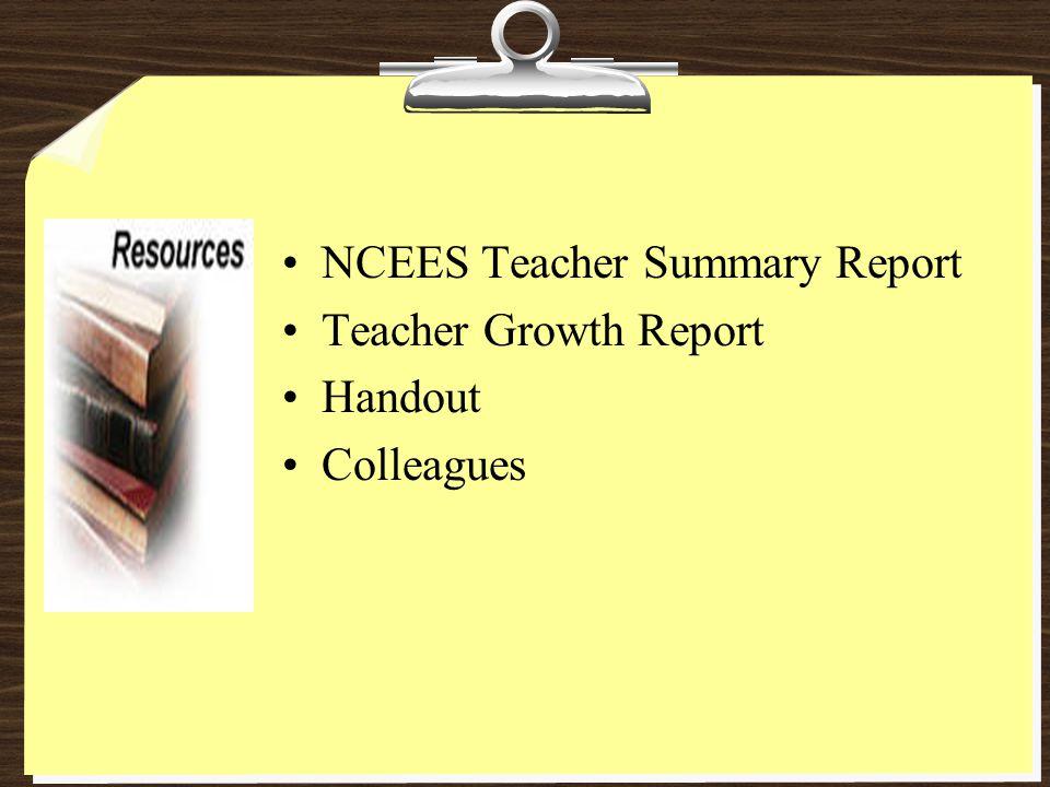 NCEES Teacher Summary Report Teacher Growth Report Handout Colleagues
