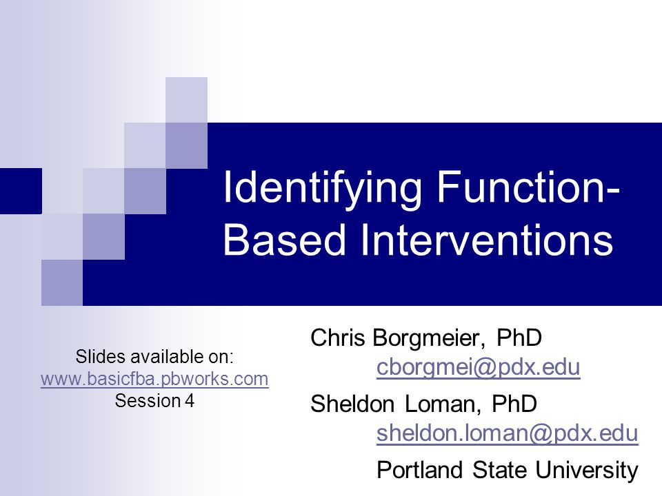 Activity 1: Function Based Interventions Complete Pre-Test (colored copy)  Please indicate what State you are from on first page  Copy answers on to white copy Turn in colored copy of PreTest  Keep sticker paperclipped to pre-test  Keep white copies  Try to finish in first 10 minutes of presentation; when we will begin presenting