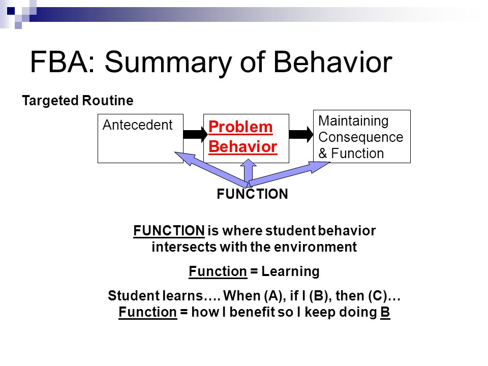 Function Based Interventions Maintaining Consequence & Function Problem Behavior Antecedent FUNCTION Function should guide selection of prevention strategies Function should guide selection of alternative/ replacement behaviors Function should guide selection of consequences: (+) and (-) When generating interventions we use Function to develop ideas to change A, B & C Targeted Routine