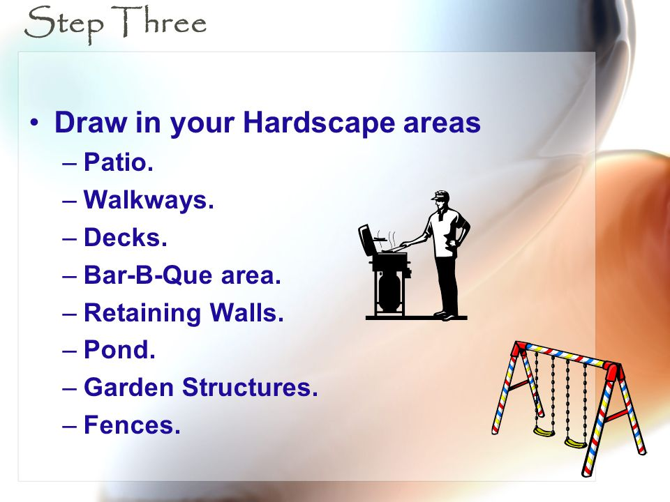 Step Three Draw in your Hardscape areas –Patio. –Walkways. –Decks. –Bar-B-Que area. –Retaining Walls. –Pond. –Garden Structures. –Fences.