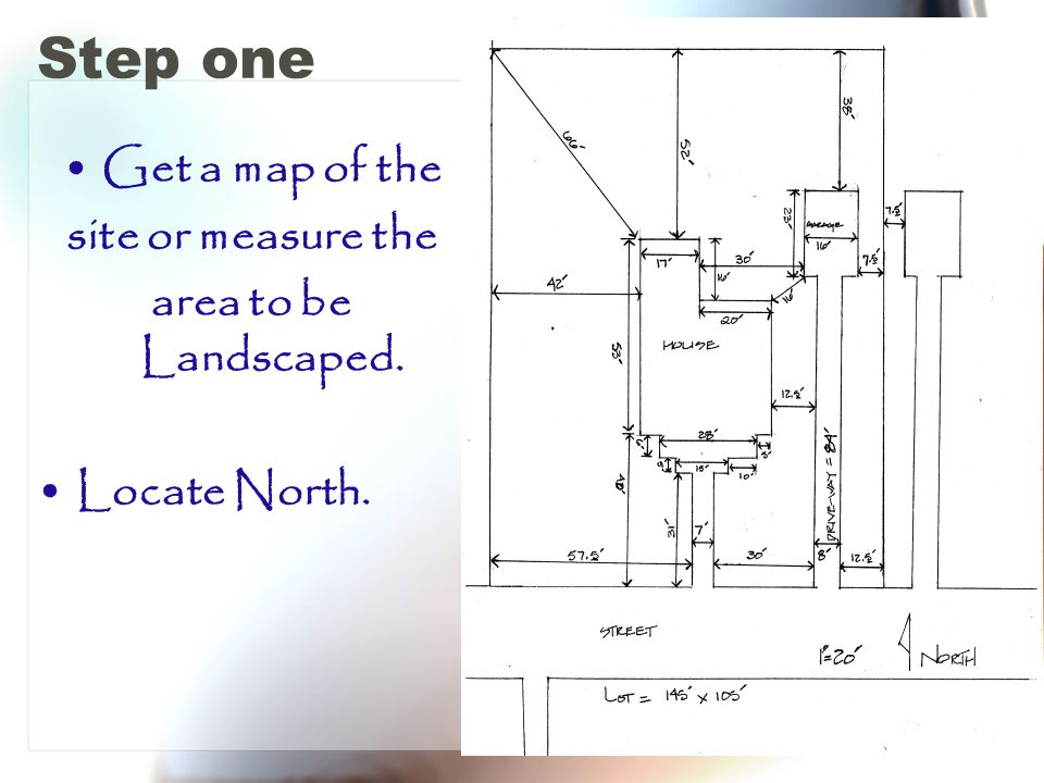 Step one Get a map of the site or measure the area to be Landscaped. Locate North.