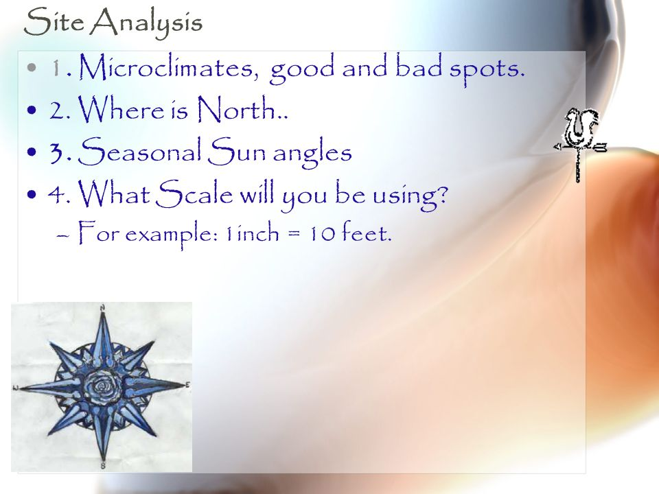 Site Analysis 1. Microclimates, good and bad spots. 2. Where is North.. 3. Seasonal Sun angles 4. What Scale will you be using? –For example: 1inch =