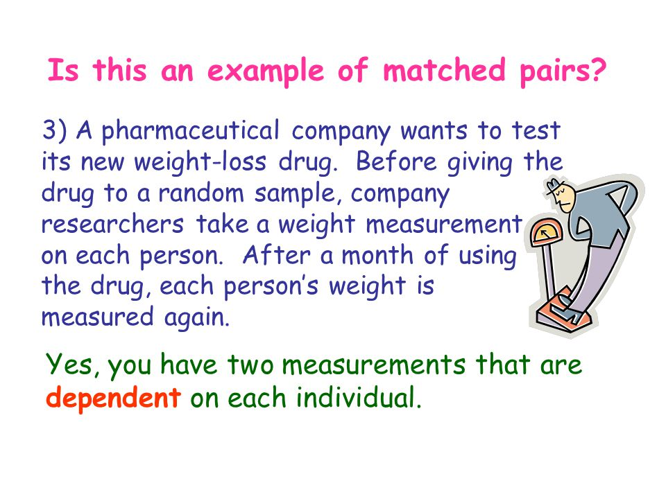 Is this an example of matched pairs? 3) A pharmaceutical company wants to test its new weight-loss drug. Before giving the drug to a random sample, co