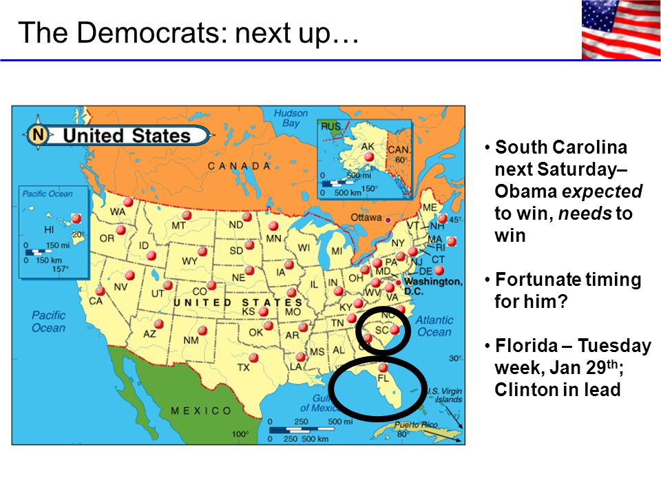 The Democrats: next up… South Carolina next Saturday– Obama expected to win, needs to win Fortunate timing for him.