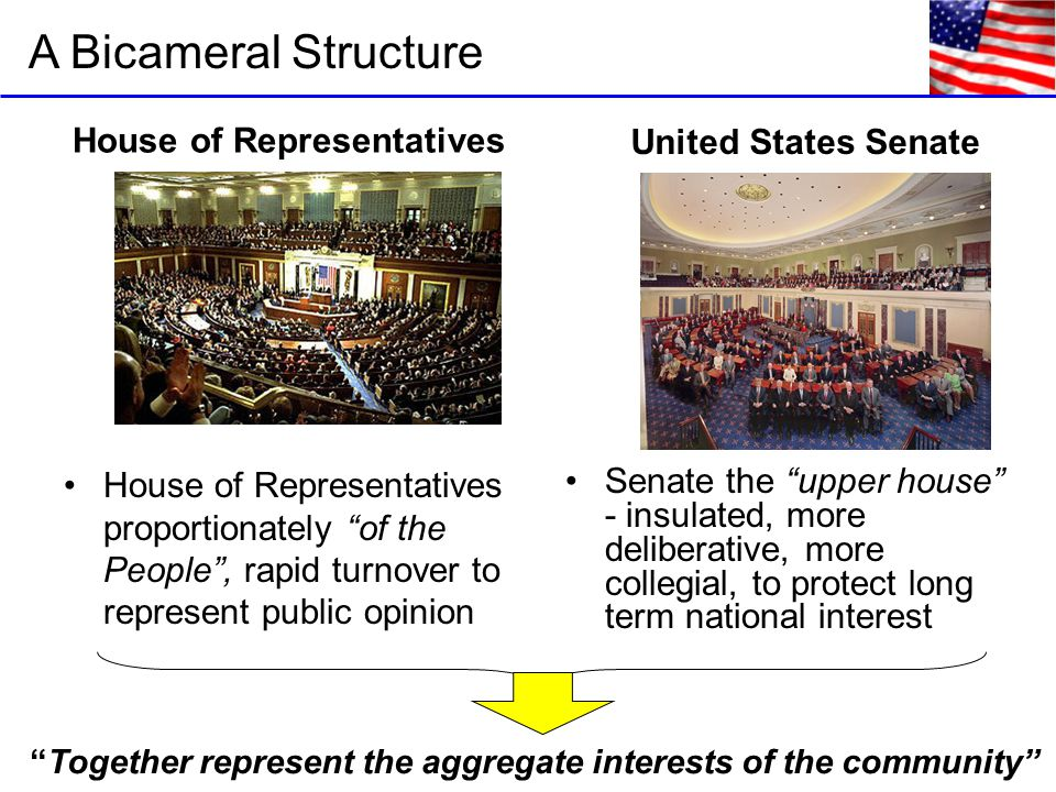 A Bicameral Structure House of Representatives United States Senate House of Representatives proportionately of the People , rapid turnover to represent public opinion Together represent the aggregate interests of the community Senate the upper house - insulated, more deliberative, more collegial, to protect long term national interest