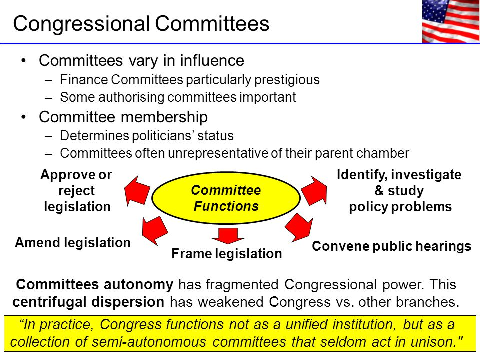 Committees vary in influence –Finance Committees particularly prestigious –Some authorising committees important Committee membership –Determines politicians' status –Committees often unrepresentative of their parent chamber Congressional Committees Committee Functions Identify, investigate & study policy problems Convene public hearings Frame legislation Amend legislation Approve or reject legislation Committees autonomy has fragmented Congressional power.