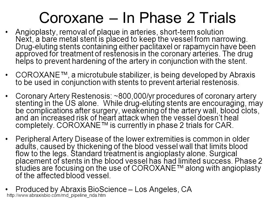 Coroxane – In Phase 2 Trials Angioplasty, removal of plaque in arteries, short-term solution Next, a bare metal stent is placed to keep the vessel from narrowing.