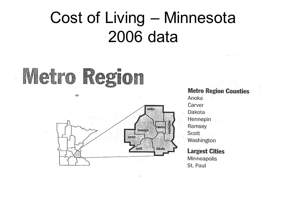 Cost of Living – Minnesota 2006 data