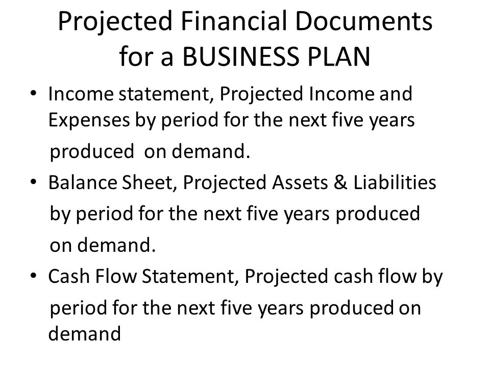Projected Financial Documents for a BUSINESS PLAN Income statement, Projected Income and Expenses by period for the next five years produced on demand