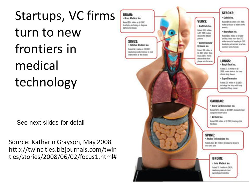 Startups, VC firms turn to new frontiers in medical technology Source: Katharin Grayson, May 2008 http://twincities.bizjournals.com/twinci ties/storie