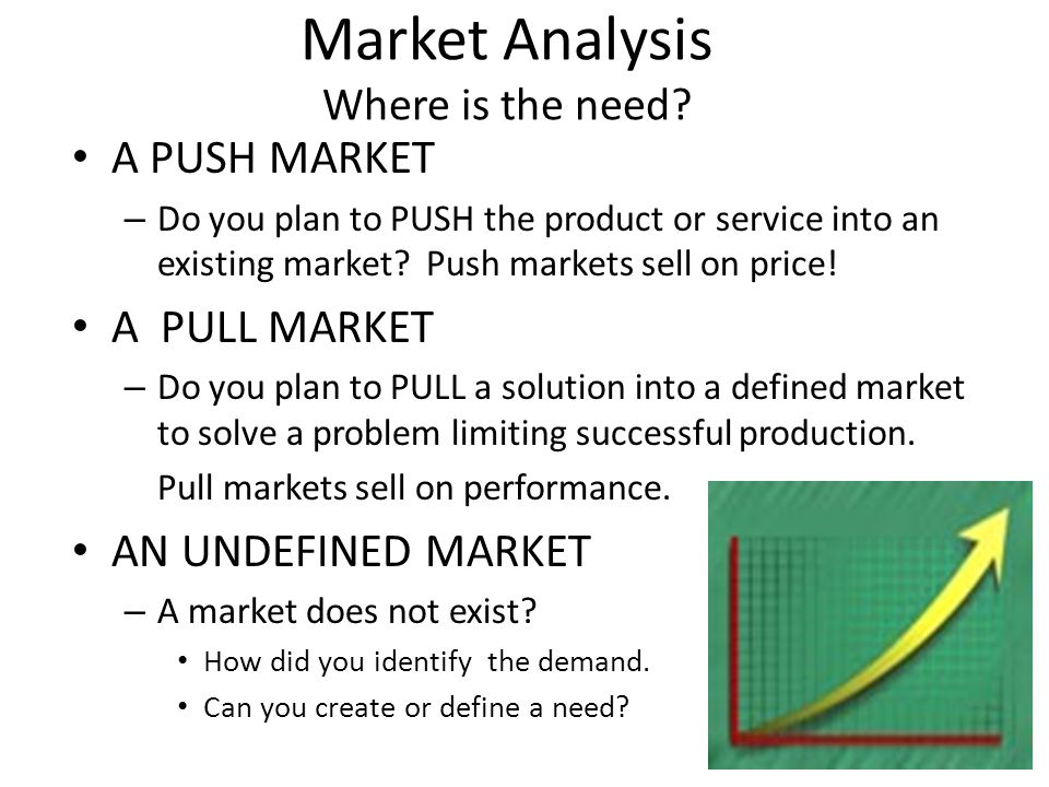 Market Analysis Where is the need? A PUSH MARKET – Do you plan to PUSH the product or service into an existing market? Push markets sell on price! A P