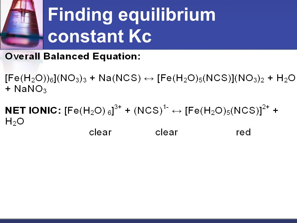 SIMPLIFIED: [Fe] 3+ + [(NCS)] 1- ↔ [Fe(NCS)] 2+ + H 2 O