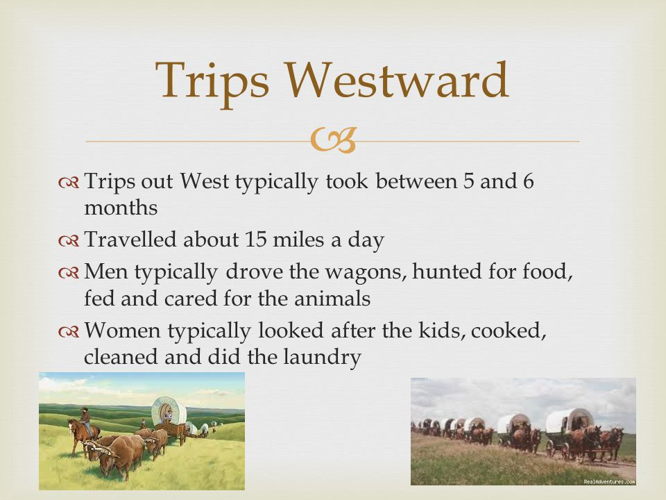   Trips out West typically took between 5 and 6 months  Travelled about 15 miles a day  Men typically drove the wagons, hunted for food, fed and cared for the animals  Women typically looked after the kids, cooked, cleaned and did the laundry Trips Westward