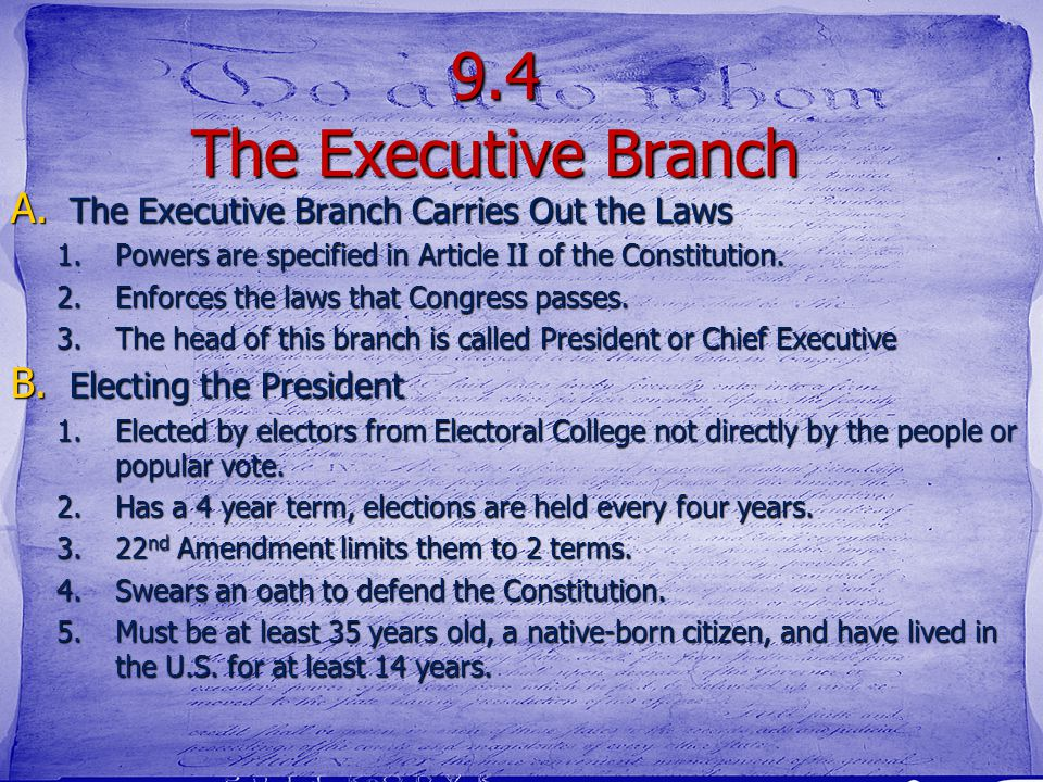 9.4 The Executive Branch Carries Out the Laws Purpose What- We are going to learn about compromise How- understand how power is divided between the th