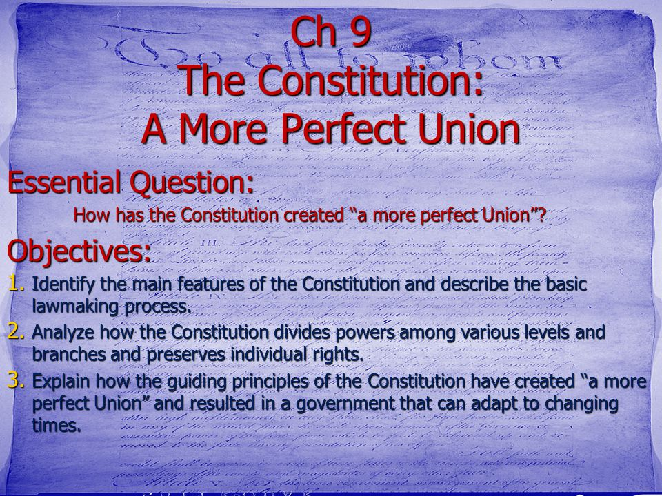 9.1 Introduction Purpose What- We are going to learn about compromise How- by taking a final law exam on the Constitution Why- so we understand how it
