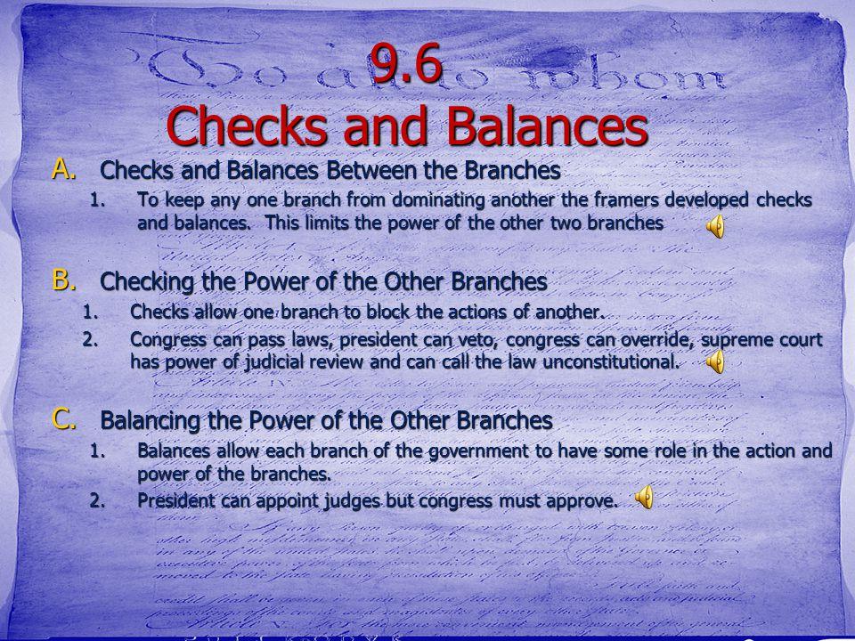 Vocabulary Terms checks and balances checks and balances checks checks balances balances amendments amendments