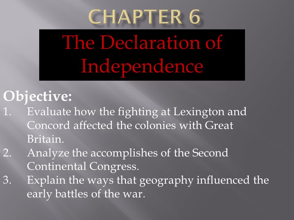 Declaring Independence Objective: 1.Identify the main ideas in the Declaration of Independence.