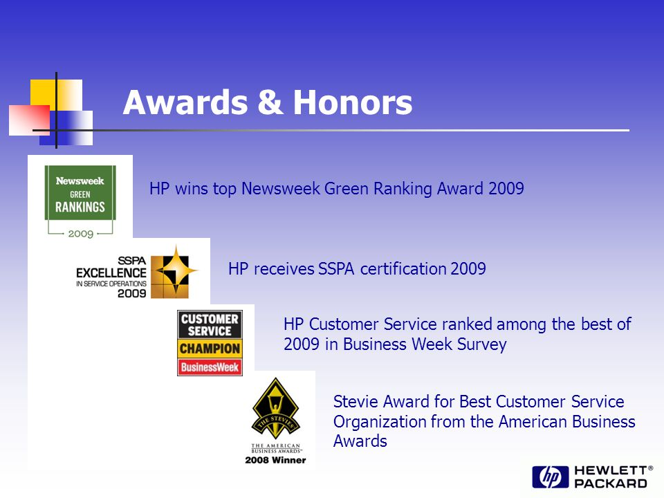 Awards & Honors HP wins top Newsweek Green Ranking Award 2009 HP receives SSPA certification 2009 HP Customer Service ranked among the best of 2009 in Business Week Survey Stevie Award for Best Customer Service Organization from the American Business Awards